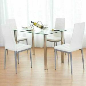 5PC Dining Set Tempered Glass Top Table & 4 Chairs Kitchen Furniture White