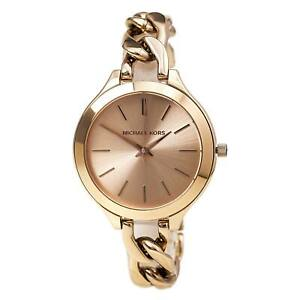 Michael Kors MK3223 Women's Slim Runway Rose Gold Steel Twisted Bracelet Watch