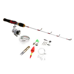 Portable Ice Fishing Rod and Reel Combo with Line Float Scissor Hook Sinker