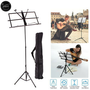 Adjustable Folding Music Stand Black w Carrying Bag Black Durable