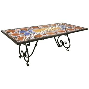 6'x3' Inlaid Marble Side Dining Marble Table Top Multi Mosaic Home Decor E599A1
