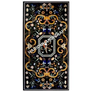 8'x4' Black Marble Table Top Beautiful Parrot Marquetry Inlaid Work Decors E629A