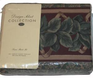 Vtg 3-Pc Dayton Hudson BARERO Leaves Green Burgundy Tan/Beige Twin Sheet Set NIP