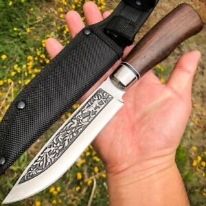 10.5 Wood Handle Survival Hunting Camping Fishing Fixed Blade Knife  Sheath