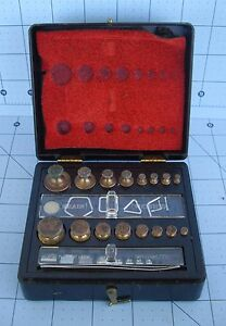 Brass Weights Ohaus Corp. for Balance Scale Medicine Science w  Case Very Nice