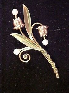 VINTAGE SIGNED VAN DELL 1 20th 12K GF TWO TONE FLOWER BROOCH WITH REAL PEARLS $25.00