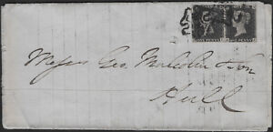 RARE penny black PAIR on year 1840 cover - plate 8 - margins GOOD to FINE