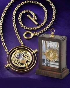 HARRY POTTER HERMIONE 24K GOLD TIME TURNER PROP REPLICA NECKLACE + DISPLAY CASE