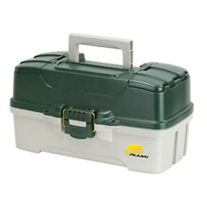 Plano 3-Tray Tackle Box wDual Top Access - Dark Green MetallicOff White