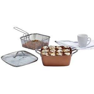 Copper Chef 5 Piece XL Aluminum & Stainless Steel Deep Dish Square Casserole Set