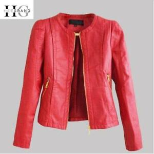 HEE GRAND 2018 Autumn Ladies Coat Slim Faux Leather Motorcycle Jackets