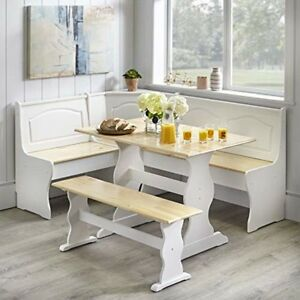 3 Pc Breakfast Dining Nook Set NaturalWhite Kitchen Corner Booth Bench