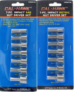 7 or 14 Piece Nut Driver Impact Setter Metric SAE