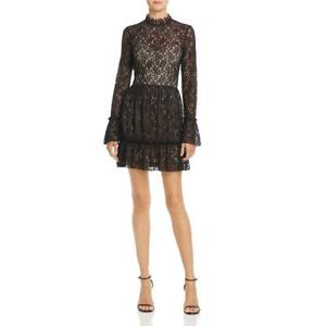 Saylor Womens Amity Black Lace Special Occasion Party Cocktail Dress M BHFO 0825