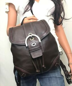 COACH MINT Brown Leather Soho Drawstring Backpack #3559
