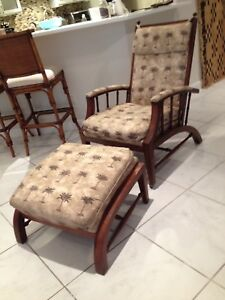Tommy Bahama Lanai Chair and Matching Ottoman Covered in Tropical Cotton Print