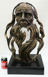 Ancient Chinese 100% Bronze Head of an Old Man with Long Beard Sculpture Figure