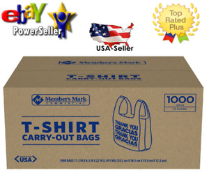 T Shirt Thank You Plastic Grocery Store Shopping Carry Out Bag 1000ct Recyclable $22.97