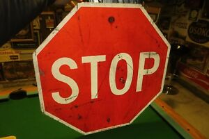 ORIGINAL STOP STREET SIGN FROM STEPHENSON COUNTY VS299 WITH BULLET HOLES