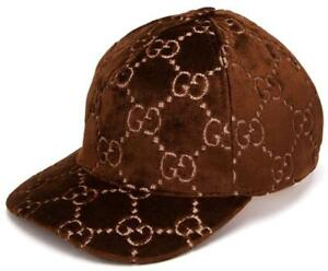 NEW GUCCI CURRENT BROWN VELVET GG CLASSIC BASEBALL CAP HAT SSMALL UNISEX
