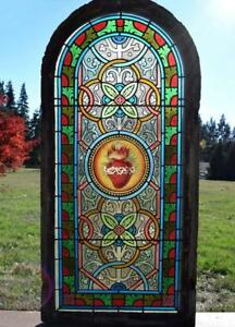 *Antique French Stained Glass Panel wLeaded Glass Sacred Heart Religious