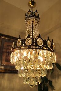 Antique Vintage French Basket Style Crystal Chandelier Lamp Light 1960's.13 in
