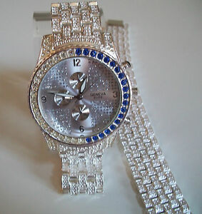 MEN'S GENEVA SILVER FINISH WATCH & BRACELET STONE SET