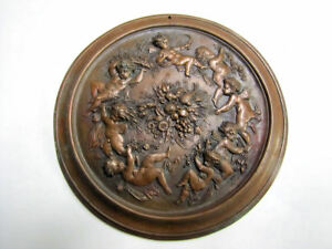 Antique Figural Plaque Cast Bronze With Cherubs