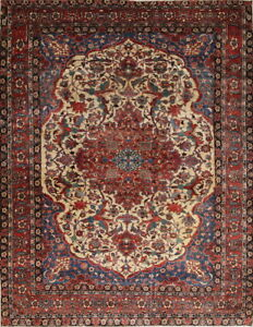 Antique Vegetable Dye Bakhtiari Persian Hand-Knotted 11x15 Floral Ivory Area Rug