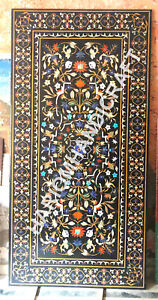 10'x5' Marble Black Top Table Marquetry Inlay Collectible Decorative Art E944B