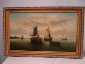 ANTIQUE SIGNED DUTCH OLD MASTER PAINTING ~ SHIPS IN HARBOR 30