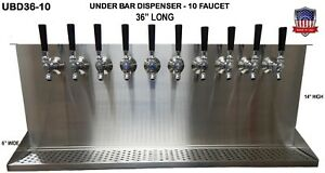 Under Bar Dispenser 10 Faucets GLYCOL READY -S. Steel Draft Beer Tower-UBD36-10G
