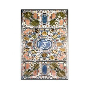 6'x4' Marble Black Dining Table Top Pietra Dura Inlay Interior Furniture E967