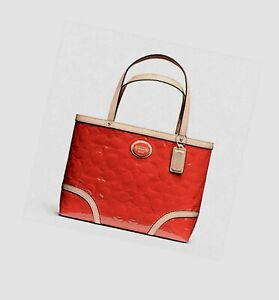 Rare Coach Signature Embossed Persimmon Red Patent Leather Peyton Tote Handbag