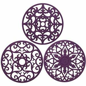 ME.FAN 3 Trivets Set Silicone Multi-Use Intricately Carved Mat Insulated Durable