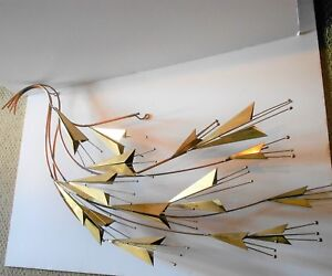 SIGNED C. JERE ABSTRACT FLORAL WALL SCULPTURE LONG MID CENTURY