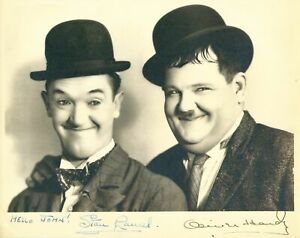 Laurel and Hardy Stan Laurel Oliver Hardy 8 x 10 Photo cast signed STAX UACC