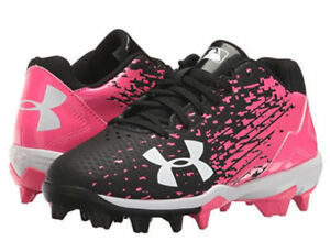 NEW UNDER ARMOUR UA LEADOFF LOW RM JR SOFTBALL CLEATS SHOES 2.5 2.5Y PINK