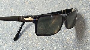 Persol P Polarized Thin Black Designer Sunglasses Made in Italy Rare Roman Spear