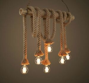 A644 Retro Hand Knitted Hemp Rope Lamp 6 Lights Home Decoration Pendant Light Z