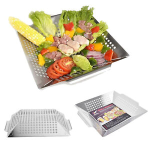 Witswell Stainless Steel BBQ Vegetable Grill Basket Fit on Gas Charcoal Grills