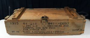Vintage Wooden Military Ammunition Ammo Box For Mortar Rope Handles M30 Empty