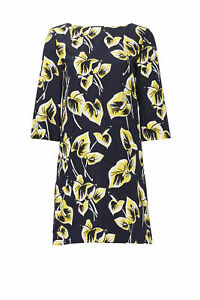Marni Navy Blue Yellow Floral Printed Women's Size 46 Shift Dress $1410- #111