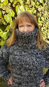 SUPER THICK Hand Knitted Grey Black BIG Mohair Wool Sweater T-neck MOHAIRDREAM