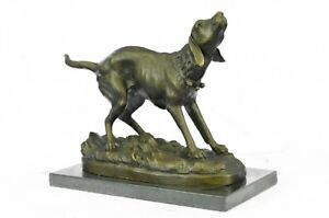 Vintage Bronze Metal French Miguel Lopez Milo Sculpture Animal Dog Terrier Hunt