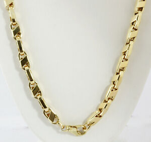 64.80 gm 14K Yellow Gold Men's Hollow Italian Bullet Chain Necklace 24