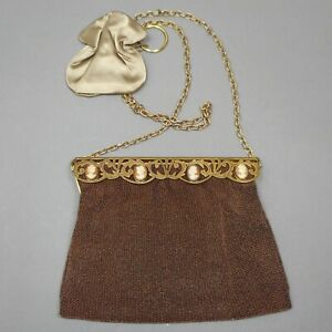 Vintage 1950s Chunn of Paris France Brown Bronze Beaded Purse Evening Bag Cameos