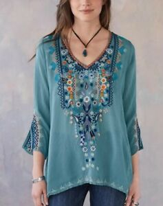 NWT JOHNNY WAS MAYA BLOUSE TOP EMBROIDERED SHIRT STEAM BLUE TURQUOISE  S M L XL
