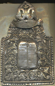 18th Century Antique Poland Silver Jewish Torah Shield Unicorn Judaica