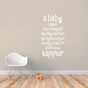 A Baby Makes A Home Happier Large Wall Decal